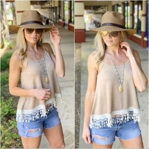 Tan Lace Trim Tank